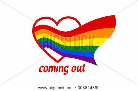 From Heart Comes A Rainbow Flag - Symbol Of Pride Lgbt And Lgbtq. Coming Out Lgbt Icon. Rainbow Sign
