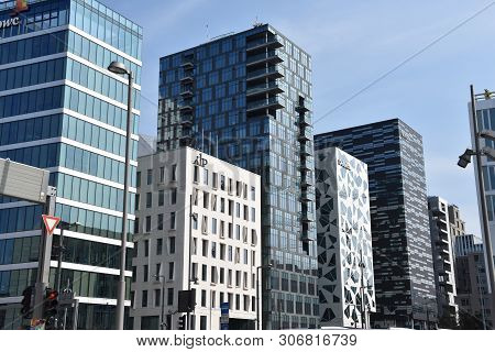 Oslo, Norway:may 17, 2019: View Of The Modern Oslo Business District Bjorvika On Dronning Eufemias G