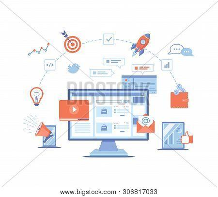 Digital Marketing Concept. Landing Page Template. Business Analysis, Targeting, Management. Social N