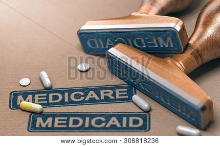 3d Illustration Of Two Rubber Stamps With The Words Mercicare And Medicaid Over Paper Background.