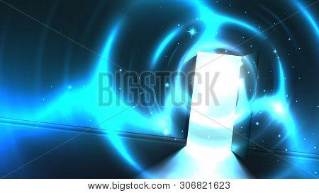 Light Tunnel From Open Door Of Dark Room, Abstract Mystical Paranormal Glowing Exit. Light In The En