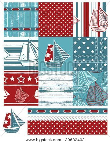 Vector patchwork nautical patterns.  Use to create quilting patches or seamless backgrounds for various craft projects.