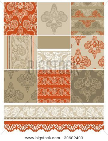 Indian inspired textile patterns and elements.  Use to create striking patchwork quilts or craft projects.  All patterns are seamless repeat vectors.