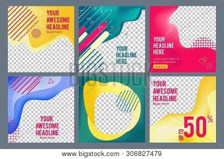 Editable Social Banners. Simple Web Visual Offers Web Media Content Square Business Banners Vector I