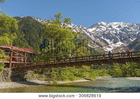 Hotaka Mountain And Kappa Bridge In Kamikochi, Nagano, Japan