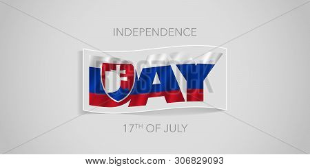 Slovakia Happy Independence Day Vector Banner, Greeting Card. Slovakian Wavy Flag In Nonstandard Des