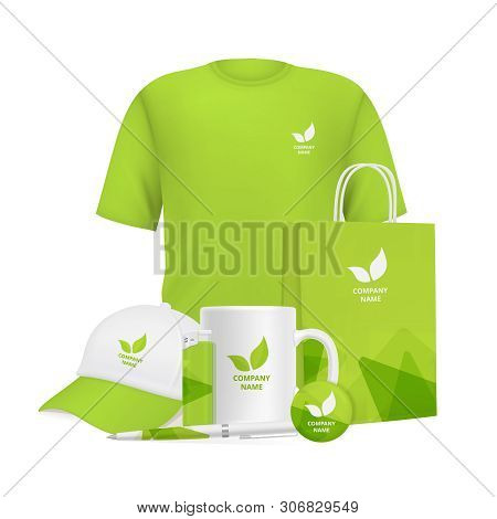 Business Identity. Branding Design Corporate Souvenirs Promotional Items Clothing Cup Cap Pen Lighte