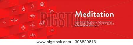 Meditation Icon Set with Web Header Banner poster