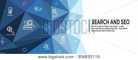 Search And Seo Web Header Hero Image Banner W Organic Growth, Search, And Locality Ideas Icon Set