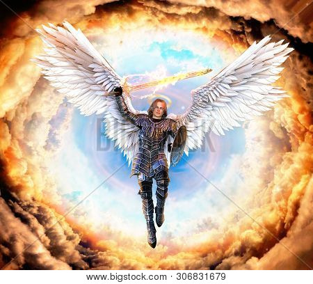 Archangel Michael, With Flaming Sword And Shield, Flying On Feathered Wings Into Hell, 3d Render Pai