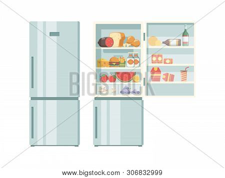 Open Refrigerator. Healthy Food In Frozy Refrigerator Vegetables Meat Juce Cakes Steak Supermarket P
