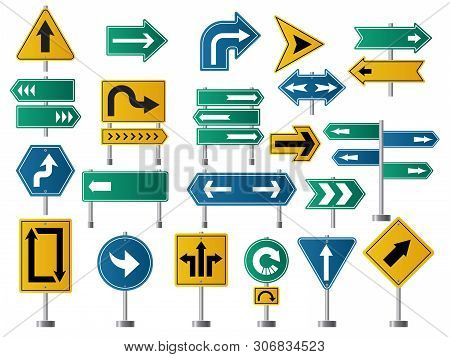 Arrows Direction. Road Signs For Street Or Highway Traffic Navigation Vector Pictures Of Arrows. Ill