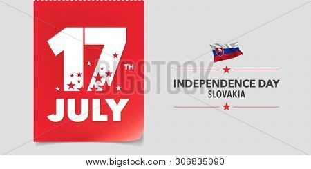 Slovakia Happy Independence Day Greeting Card, Banner, Vector Illustration. Slovakian National Day 1
