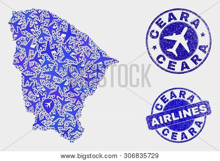 Airline Vector Ceara State Map Mosaic And Scratched Seals. Abstract Ceara State Map Is Designed From