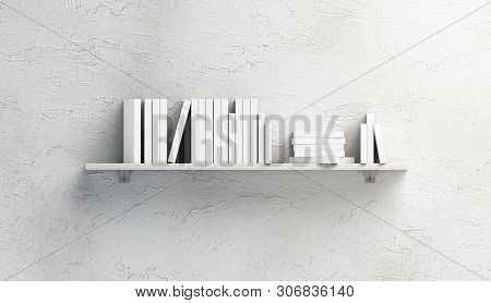 Blank White Stack Of Books Mock Ups On Shelf Mounted On Wall, Front View, Isolated, 3d Rendering. Em