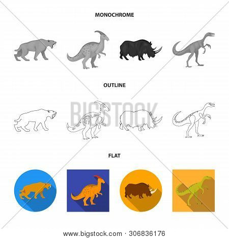 Isolated Object Of Animal And Character Sign. Collection Of Animal And Ancient Stock Vector Illustra