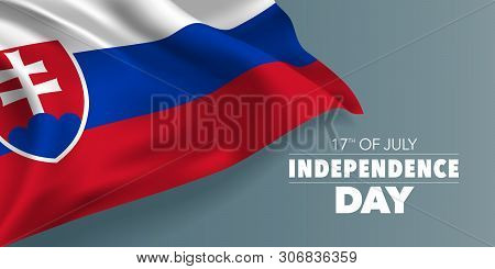 Slovakia Happy Independence Day Greeting Card, Banner With Template Text Vector Illustration. Slovak