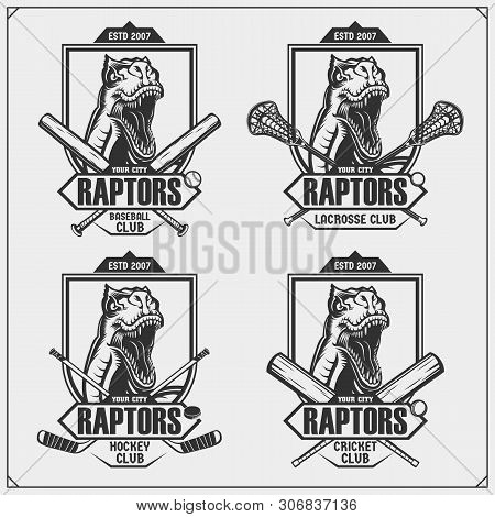 Cricket, baseball, lacrosse and hockey logos and labels. Sport club emblems with raptor dinosaur. Print design for t-shirt. poster