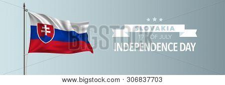 Slovakia Happy Independence Day Greeting Card, Banner Vector Illustration. Slovakian National Holida
