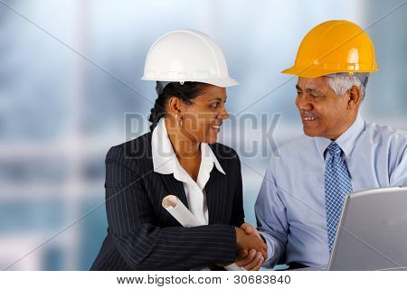 Construction workers working on a job together