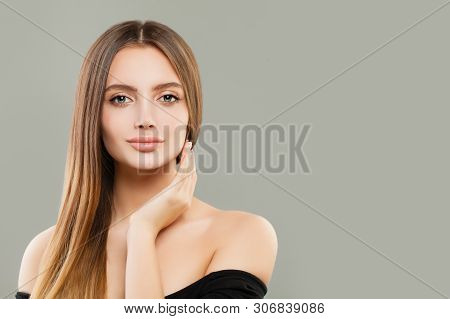 Beautiful Girl Portrait. Smiling Young Woman With Brown Hair