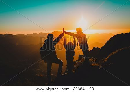 Father With Kids Travel In Sunset Mountains, Family Play In Nature