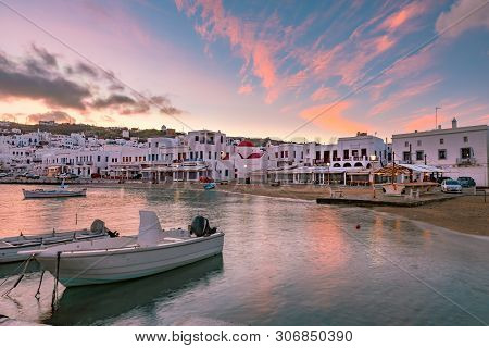 Old Port Of Mykonos City, Chora, On The Island Mykonos At Sunrise, Greece