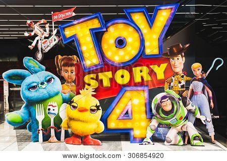 Bangkok, Thailand - Jun 17, 2019: Toy Story 4 Movie Backdrop Display With Cartoon Characters In Movi