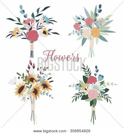 Set Of Wedding Bouquets. Collection Of Wild And Garden Blooming Flowers Isolated On White Background