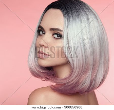 Girl Portrait Of Ombre Bob Short Hairstyle. Beautiful Hair Coloring Woman. Trendy Puprle Haircut. Bl