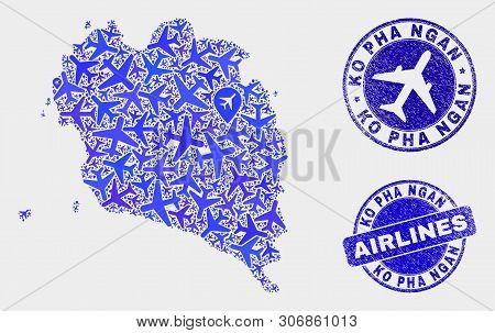 Air Plane Vector Ko Pha Ngan Map Collage And Grunge Stamps. Abstract Ko Pha Ngan Map Is Constructed