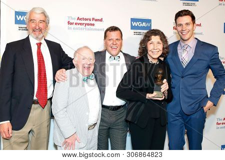 LOS ANGELES - JUN 9: Sam Waterston, Leslie Jordan, Chester McCurry, Lily Tomlin, Parker Wright at The Actors Fund's 23rd Annual Tony Awards Viewing Gala on June 9, 2019 in Los Angeles, CA