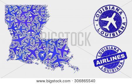 Airlines Vector Louisiana State Map Composition And Scratched Stamps. Abstract Louisiana State Map I