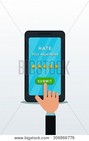 Customer Review Concept. 5 Star Rating Isolated On Smartphone Screen With Hand Finger Click On Submi