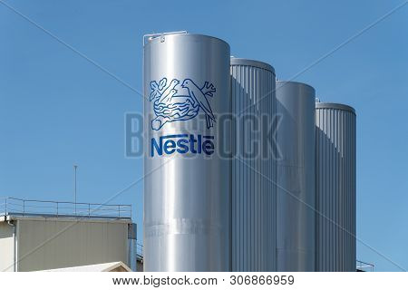 Pontecesures, Spain; June 16, 2019: Nestle Logo On Tank Of Pontecesures Factory