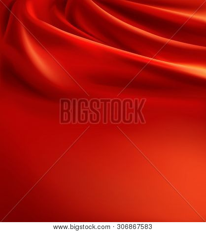 3d Realistic Red Fabric Background, Luxury Silk Cloth With Folds. Wavy Scarlet Canvas, Satin Or Velv
