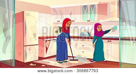 Cartoon Illustration With Two Arabian Ladies Clean Kitchen. Dirty Place With Spots, Cleaning By Hous
