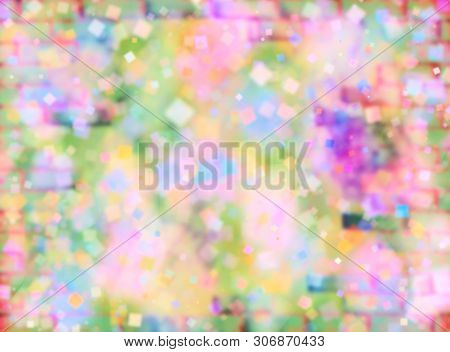 Multicolored Abstract Defocused Bokeh Pattern Wallpaper. Blurred Background.