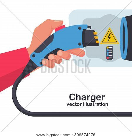 Power Supply Connect To Electric Car For Add Charge To Battery. Electric Car Charger. Eco Fuel. Vect