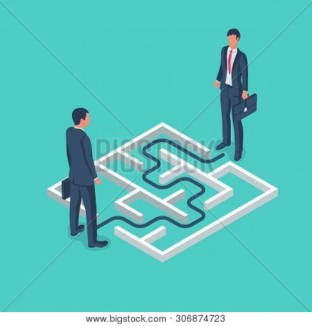 An Obstacle To Meeting Two Businessmen. Maze With Solution. Conquering Adversity. Hurdle On Way Conc