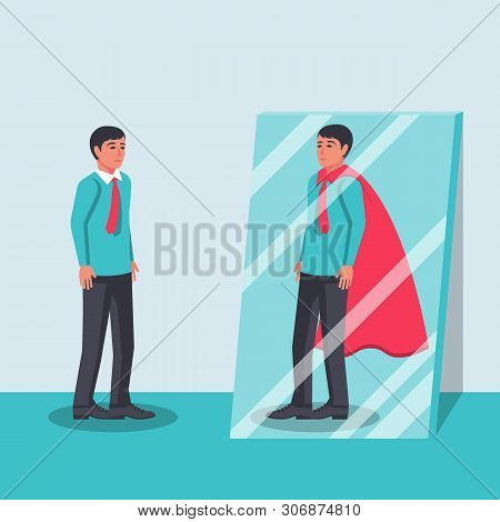 Human Looks In The Mirror And Sees A Superhero. Confident Power.  Business Leadership. Vector Illust
