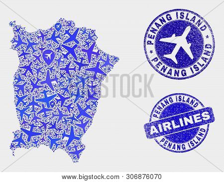 Airplane Vector Penang Island Map Composition And Grunge Watermarks. Abstract Penang Island Map Is O