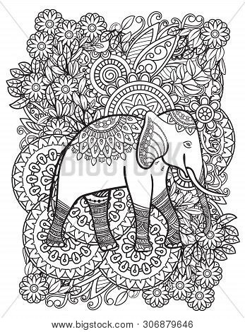Ethnic Elephant Line Art Vector Illustration. Oriental Pattern With Flowers And Mandalas. Hand Drawn