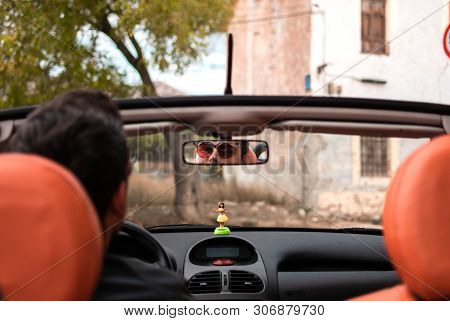 Young Man Driving Convertible Car. Driver, Leisure.
