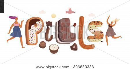 Dessert Lettering -pills - Modern Flat Vector Concept Digital Illustration Of Temptation Font, Sweet