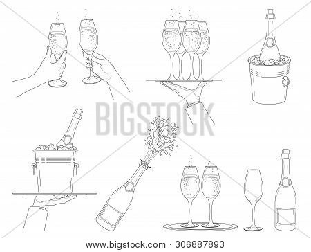 Champagne.  Set  Different Options   Champagne Explosion, Champagne Bottle In Bucket With Ice. Hands