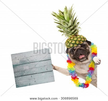 Funny Frolic Summer Pug Dog With Hawaiian Flower Garland And Pineapple Hat, Holding Wooden Sign, Iso