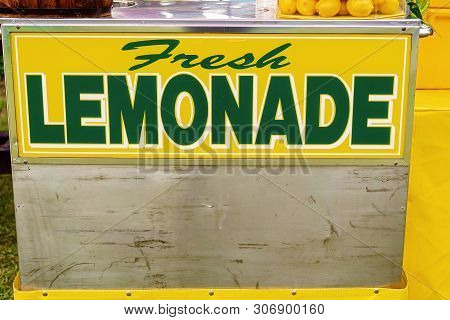 Fresh Lemonade For Sale Sign On A Stand At A Country Fairground
