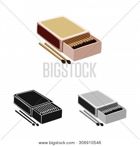 Vector Design Of Matchbox And Box Icon. Collection Of Matchbox And Matchstick Stock Symbol For Web.