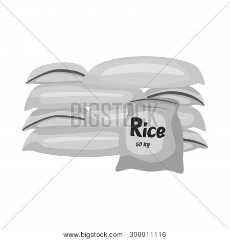 Vector Illustration Of Bag And Rice Symbol. Collection Of Bag And Wholesale Stock Vector Illustratio